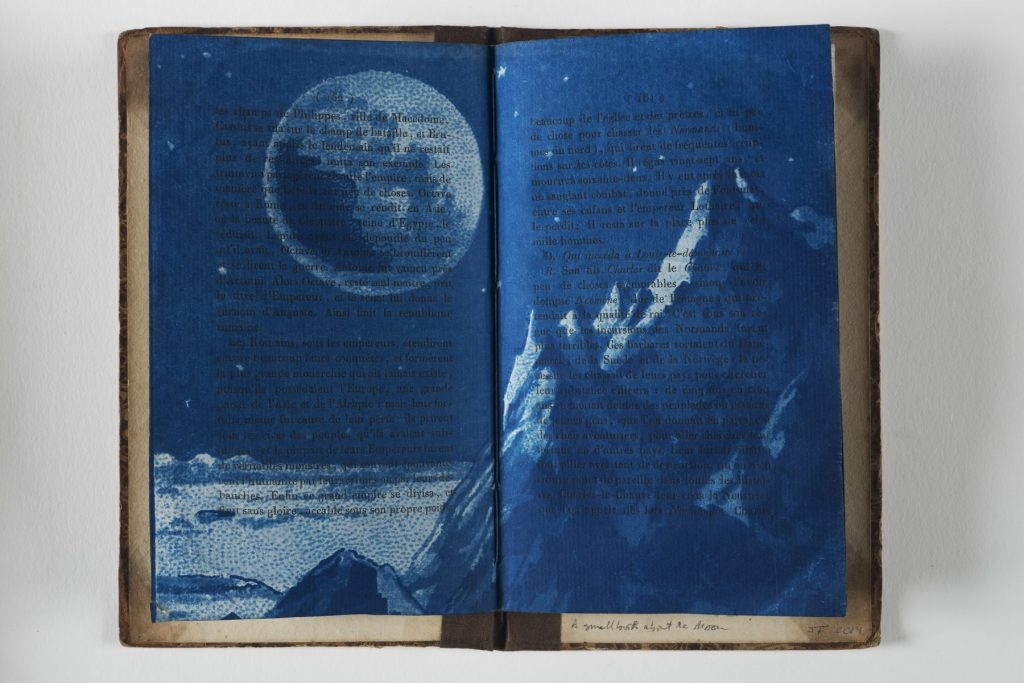 Jesseca Ferguson A small book about the moon, 2014 Gum bichromate, cyanotype, 19th-century book pages and book boards