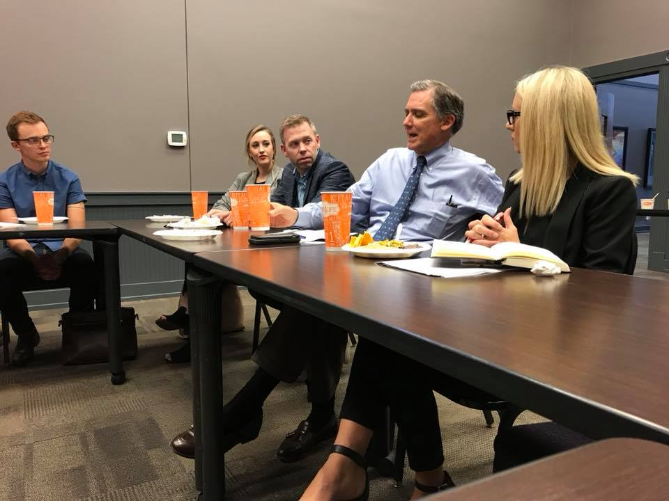 Congressman French Hill visits with the roundtable