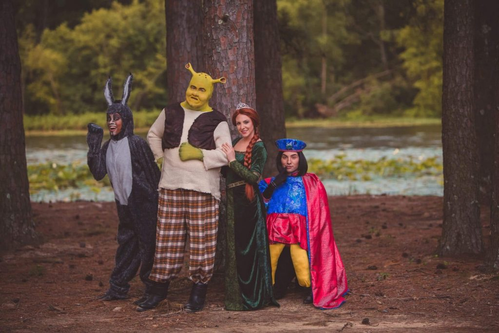 Pictured in RCT Shrek 1 (left to right): Adeeja Rochele' (Little Rock) as Donkey, Joshua Steen (Corinth, MS) as Shrek, Cesiley Trevino (Little Rock) as Princess Fiona, and Daniel Cathers (Conway) as Lord Farquaad