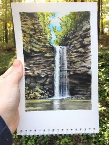 Petit Jean State Park - Cedar Falls by Jeanetta Darley Arkansas Artist