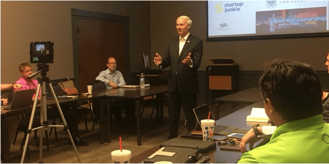 Gov Hutchinson visits with 10X Growth Accelerator Cohort