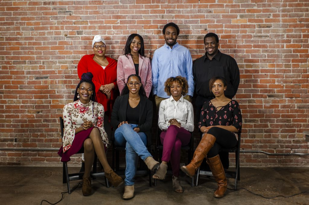 Caption: Students of the Inaugural Black History Month Art Show. Top row, from left to right: Adrienne Thompson II, Monika Cunningham, Sidney McCoy and Bobby Miller. Seated on the bottom row from left to right: Brandy Lucas, Louise Mandumbwa, Ayana Williams and Alexis Claiborne. Not pictured are Martin Balsam, Trevor Dyson and Kaleigh Thomas.