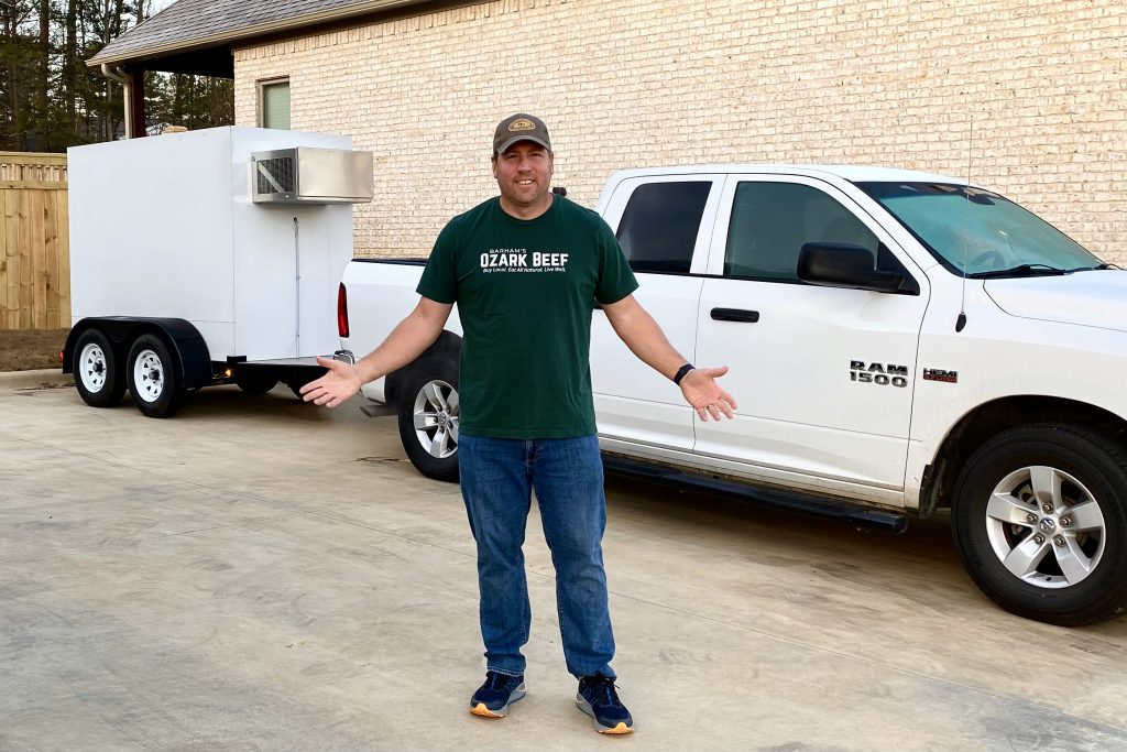 Ed Linck with the delivery trailer